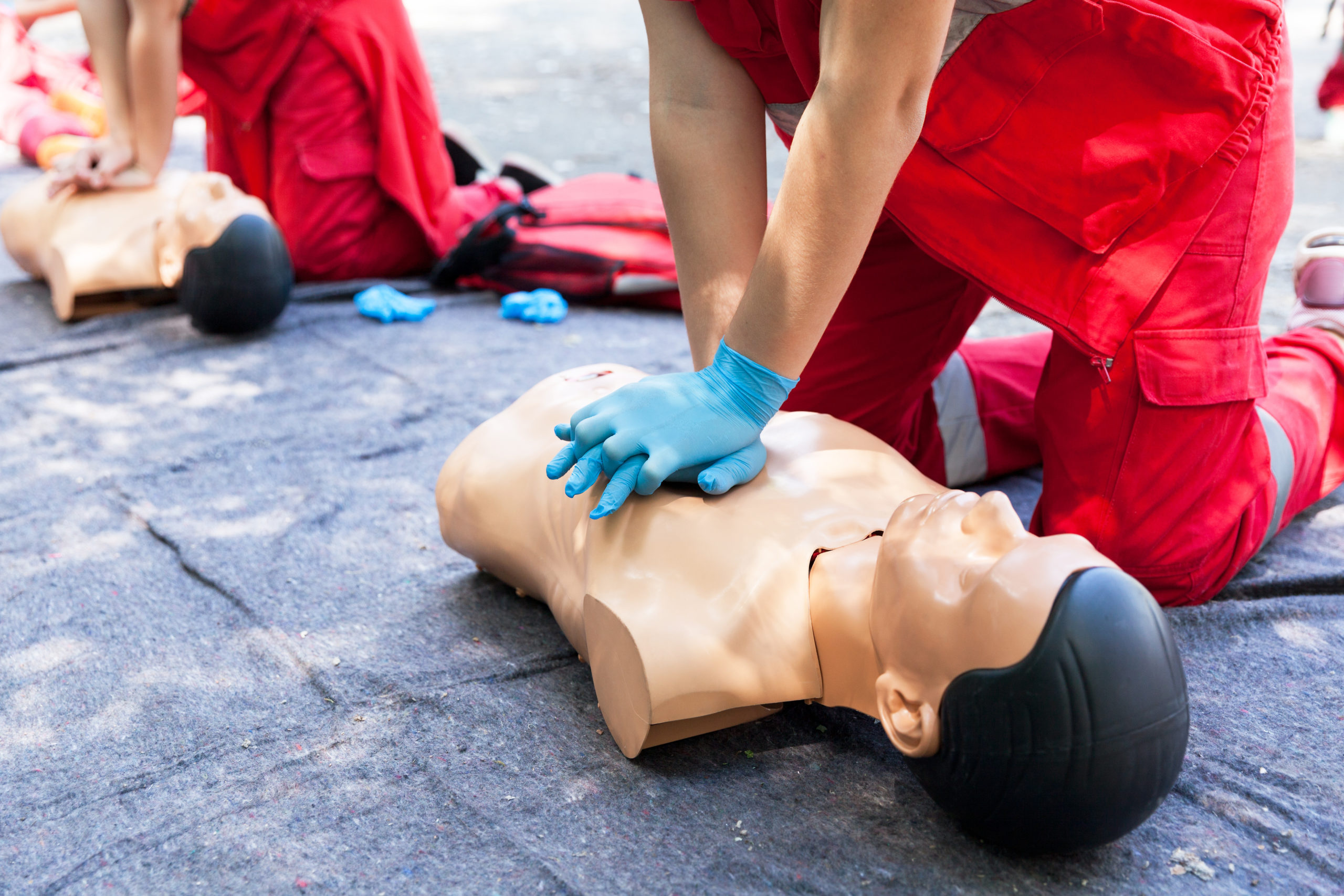 Cardiopulmonary resuscitation - CPR. First aid training detail. Heart massage.